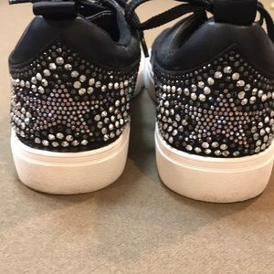 EUC STEVEN Leather jeweled tennis shoes